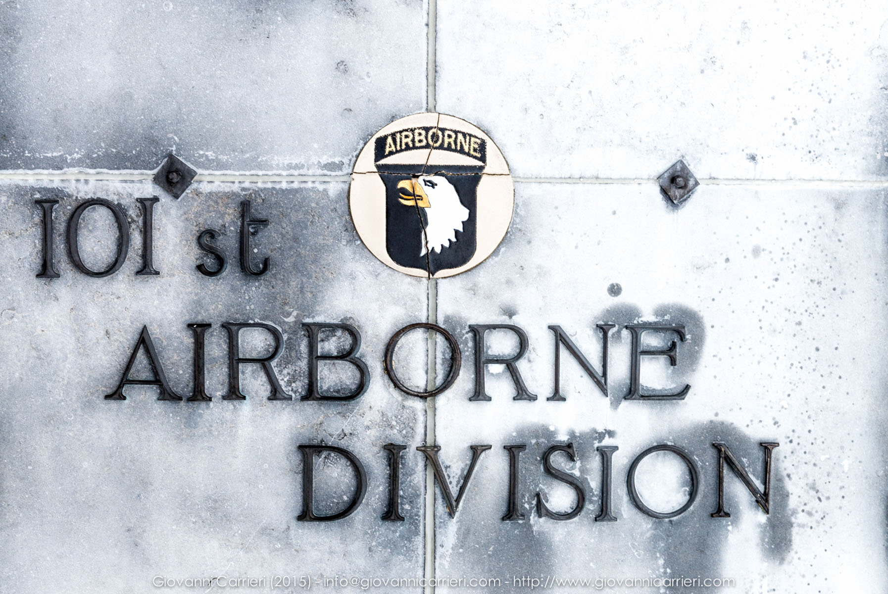 The coat of arms of the 101st Airborne Division at the Mardasson Memorial