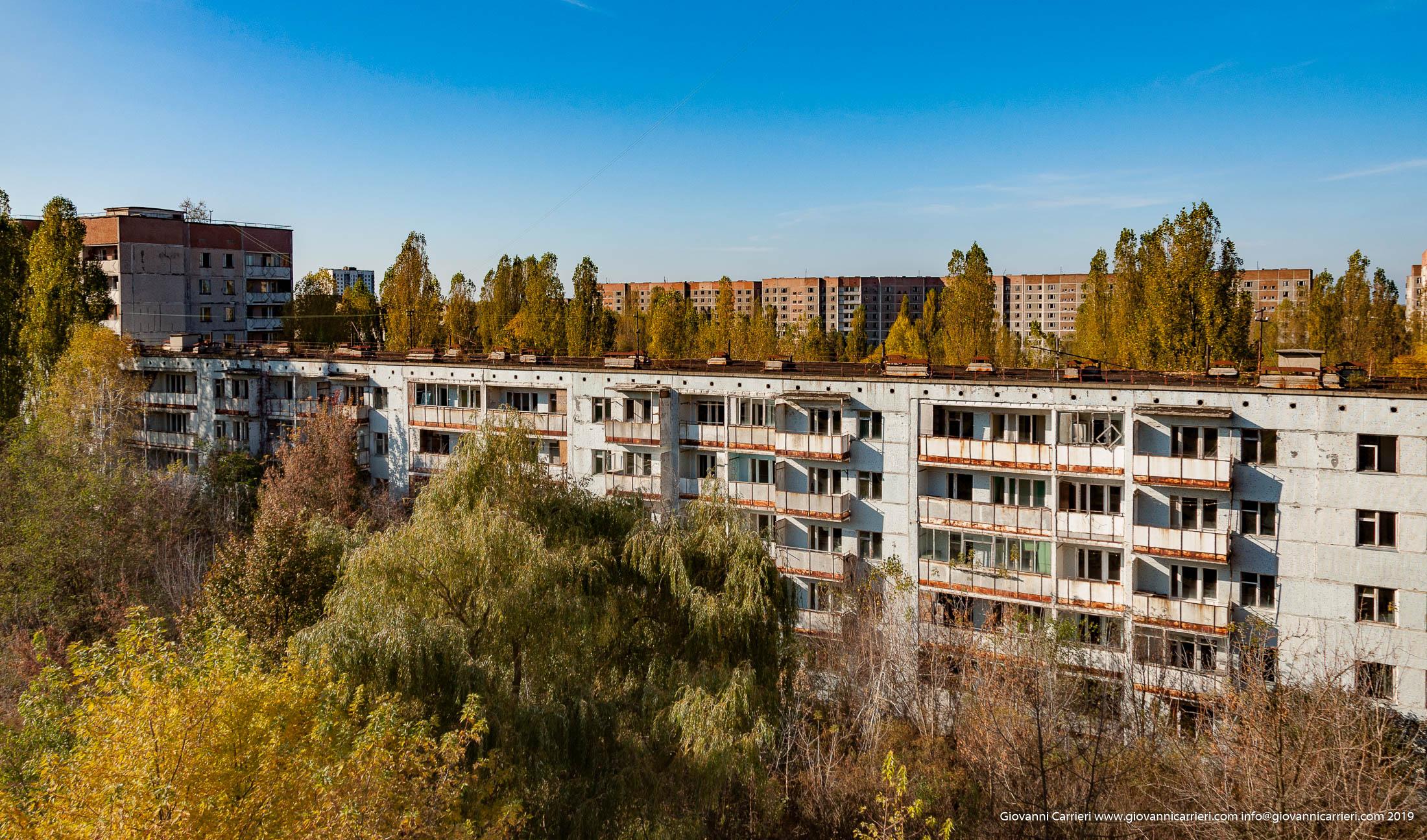 Una panoramica della città di Prypjat