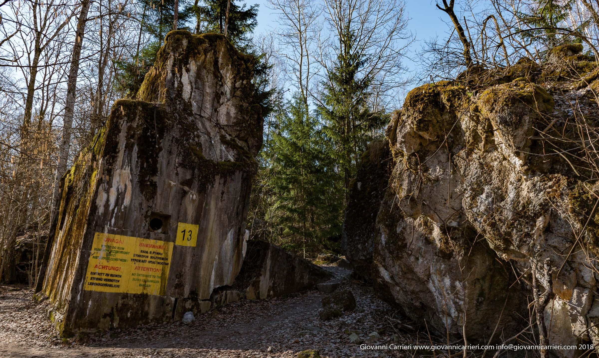 Dettagli delle rovine del bunker degli ospiti