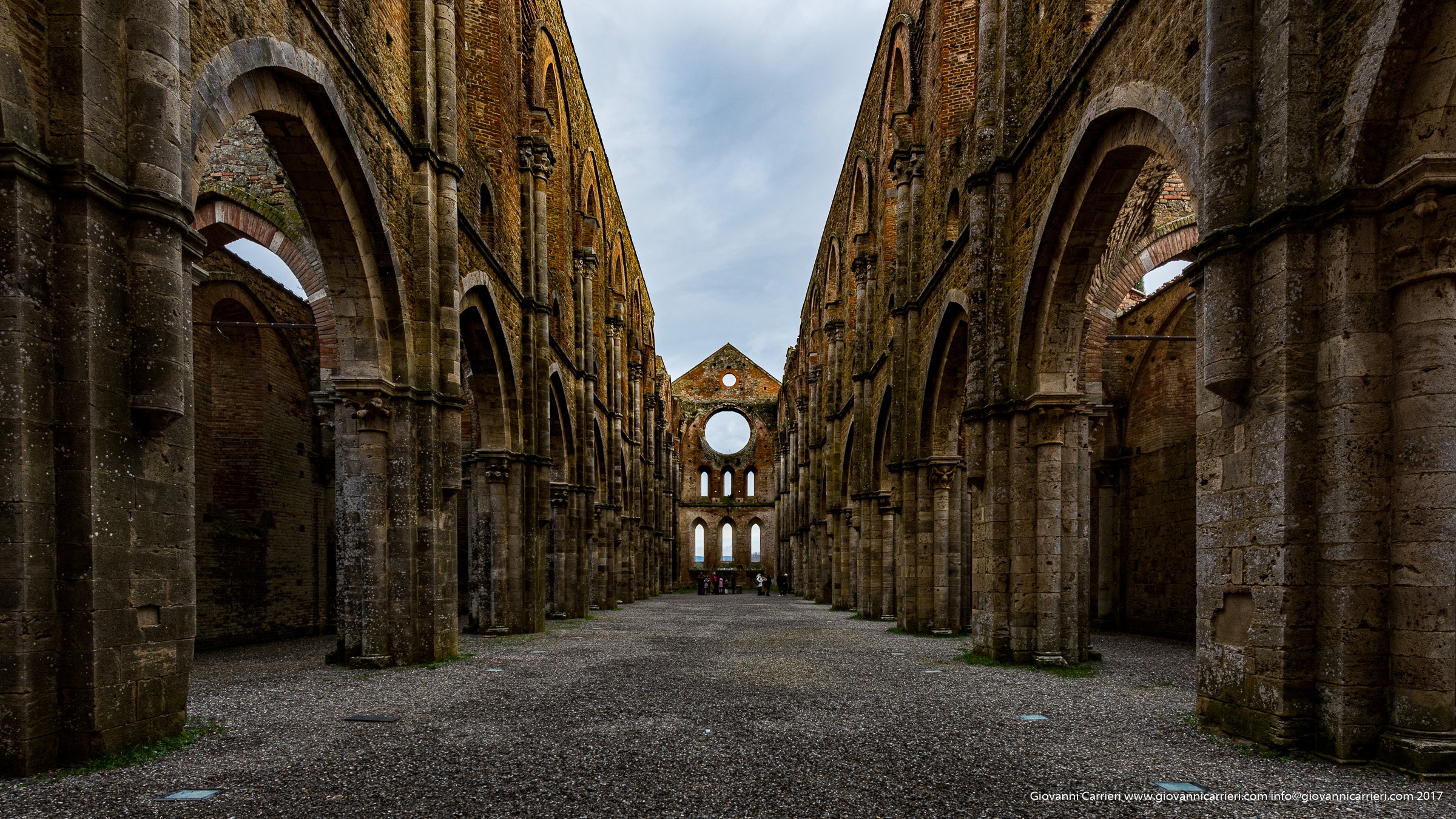 Internal view of the nave of the Abbey of San Galgano