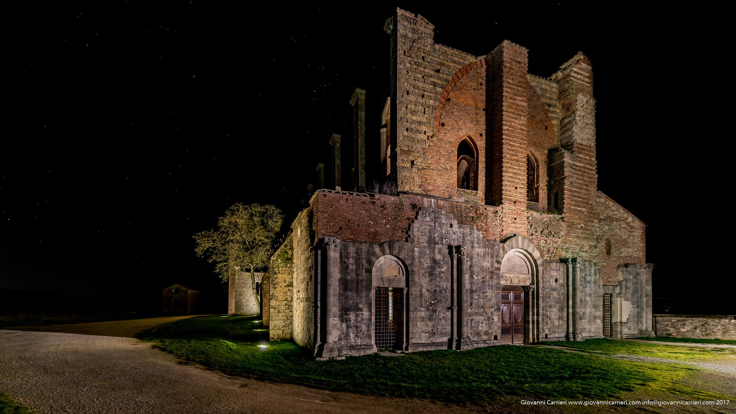 Night view of San Galgano Abbey by night