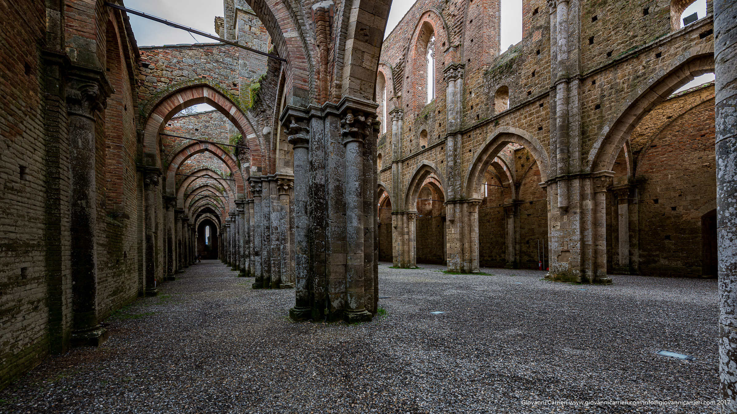 The left aisle of San Galgano Abbey