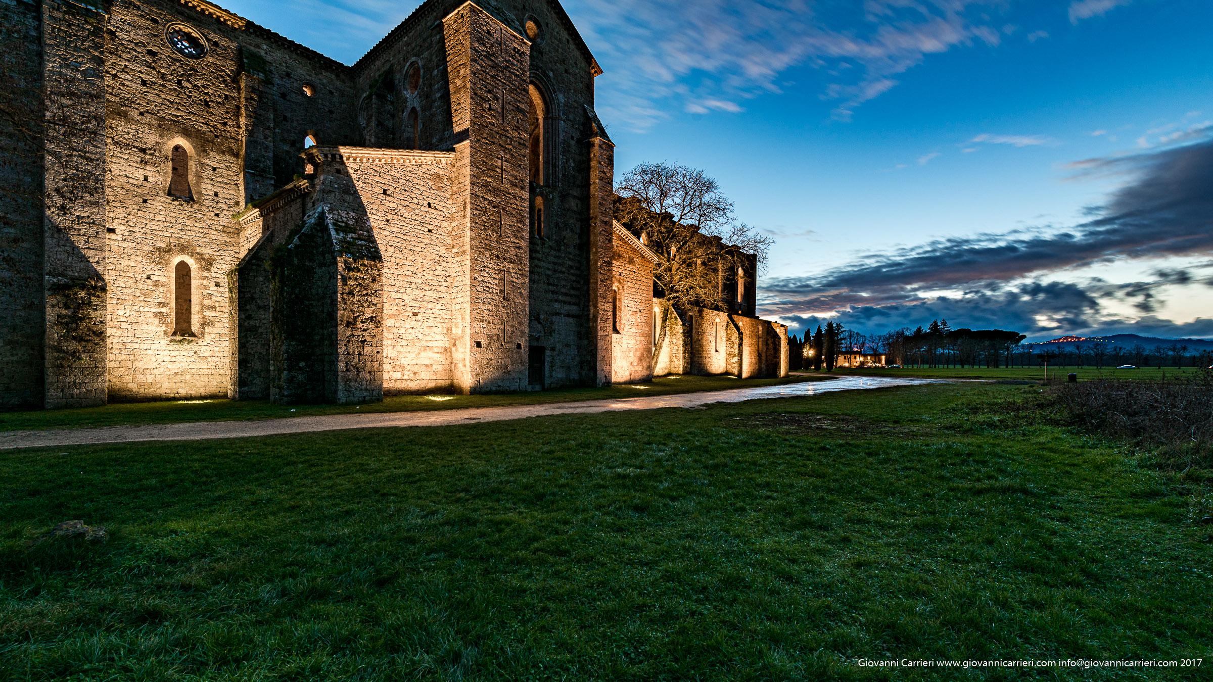 San Galgano Abbey viewed durign sunset