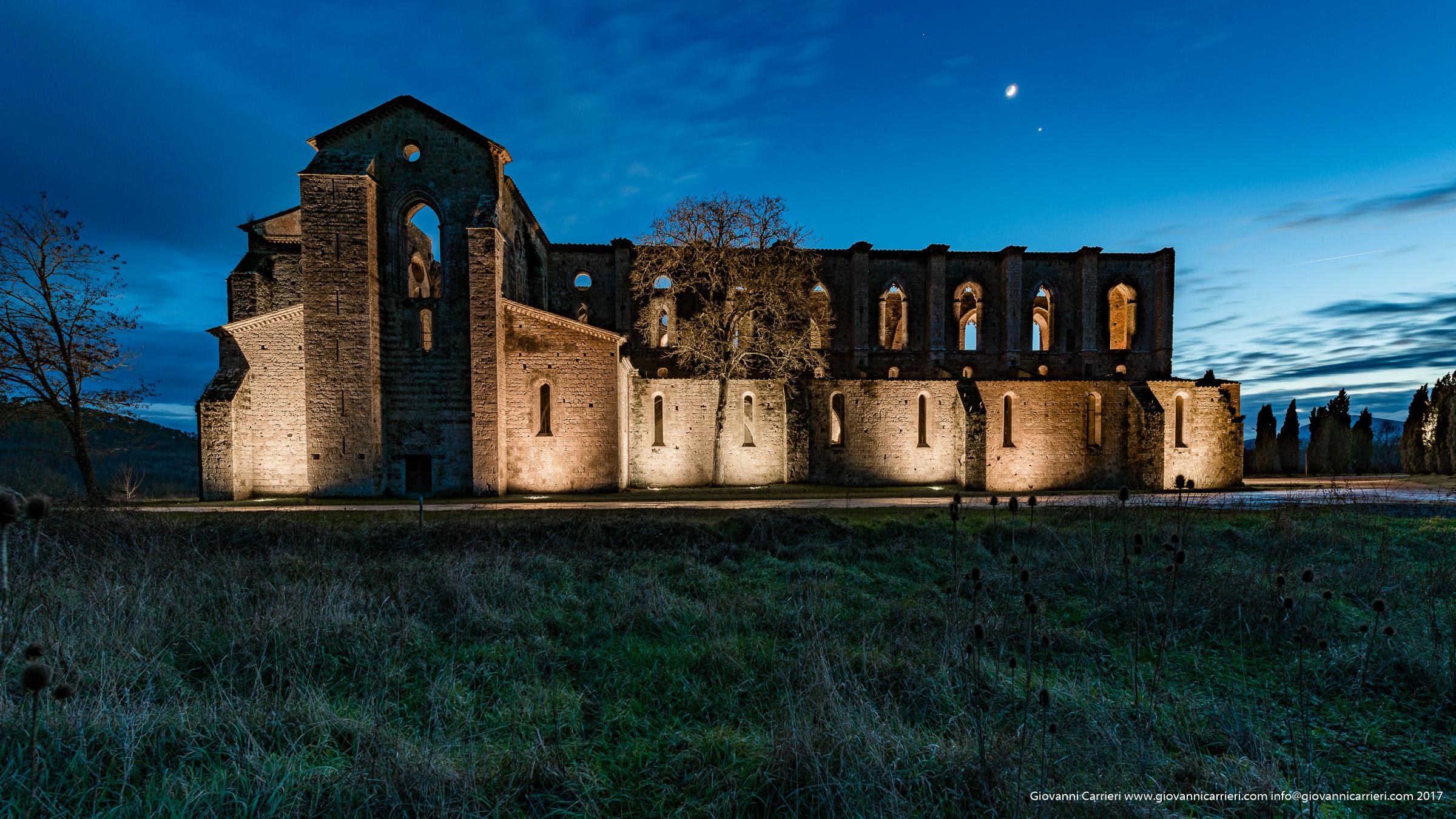 San Galgano abbey and sunset