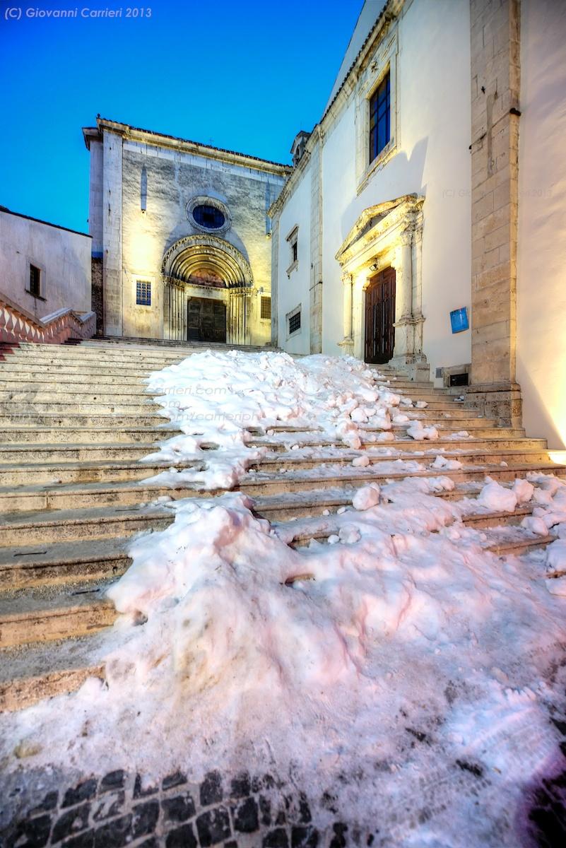 the church of Santa Maria del Colle in town center of Pescocostanzo
