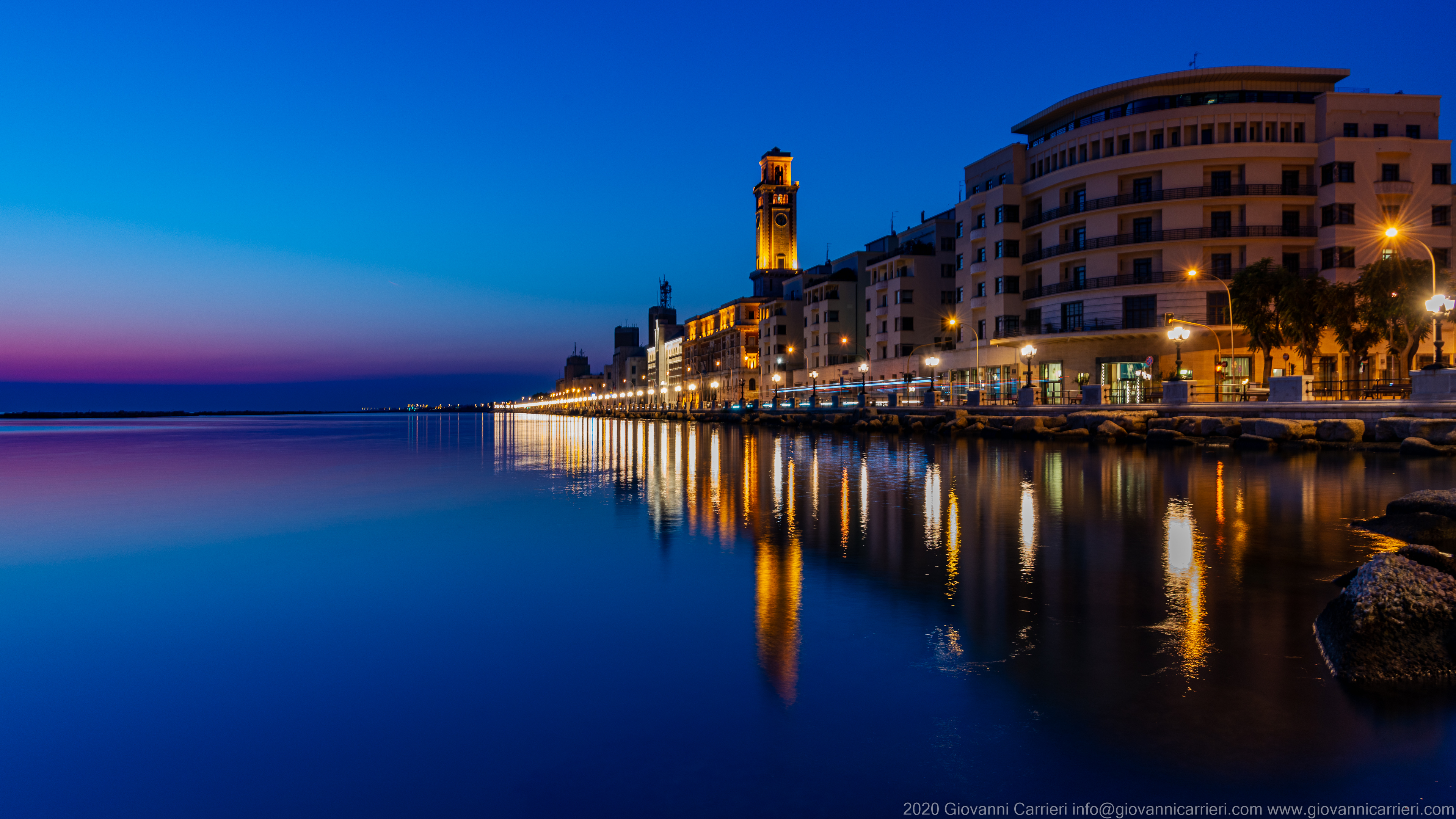 Promenade of Bari The seafront of bari at dawn, seen from Giannella roundabout towards east