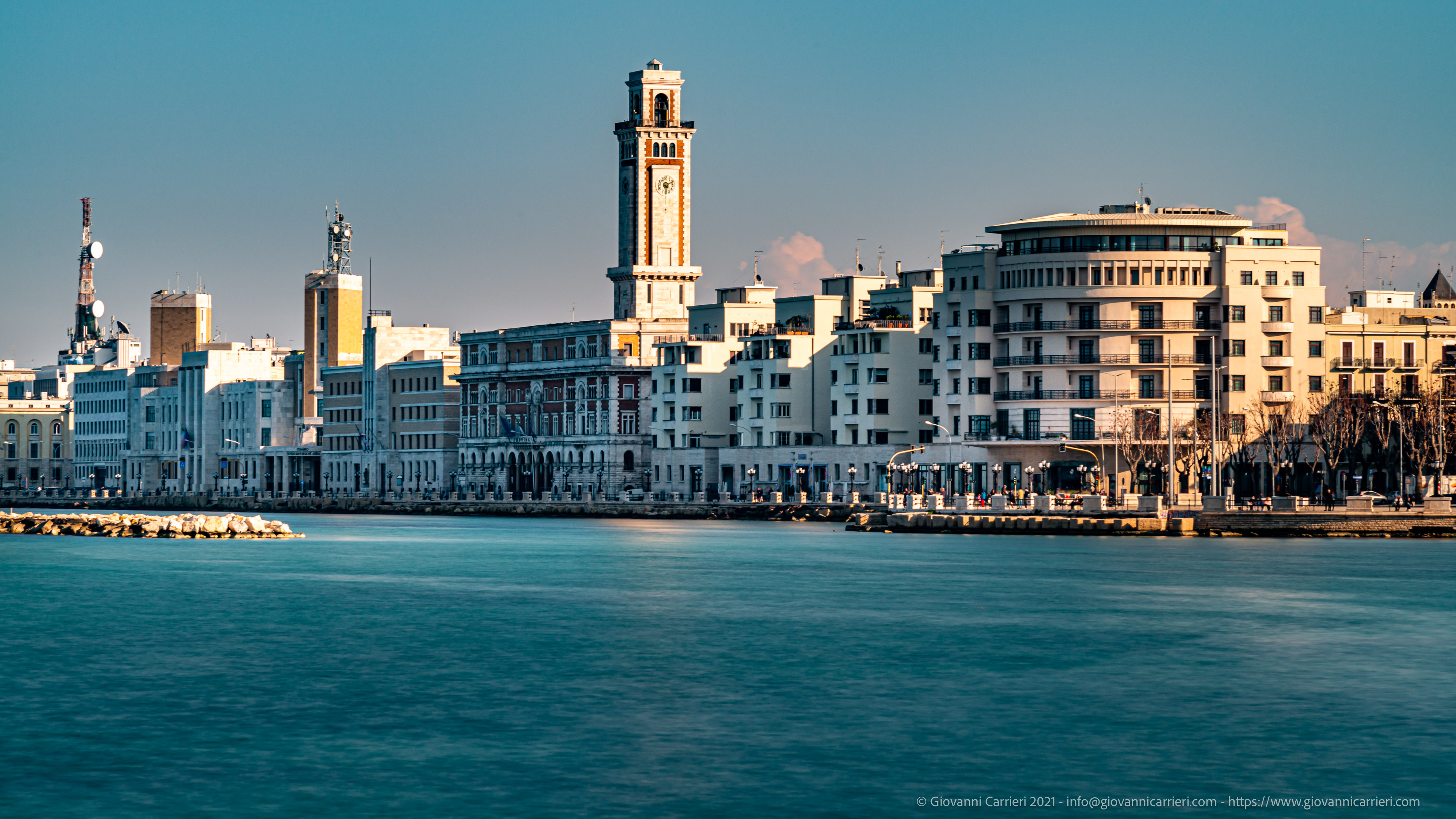 The waterfront of Bari, the spring Afternoon view of the Bari waterfront during the afternoon of March 28, 2021