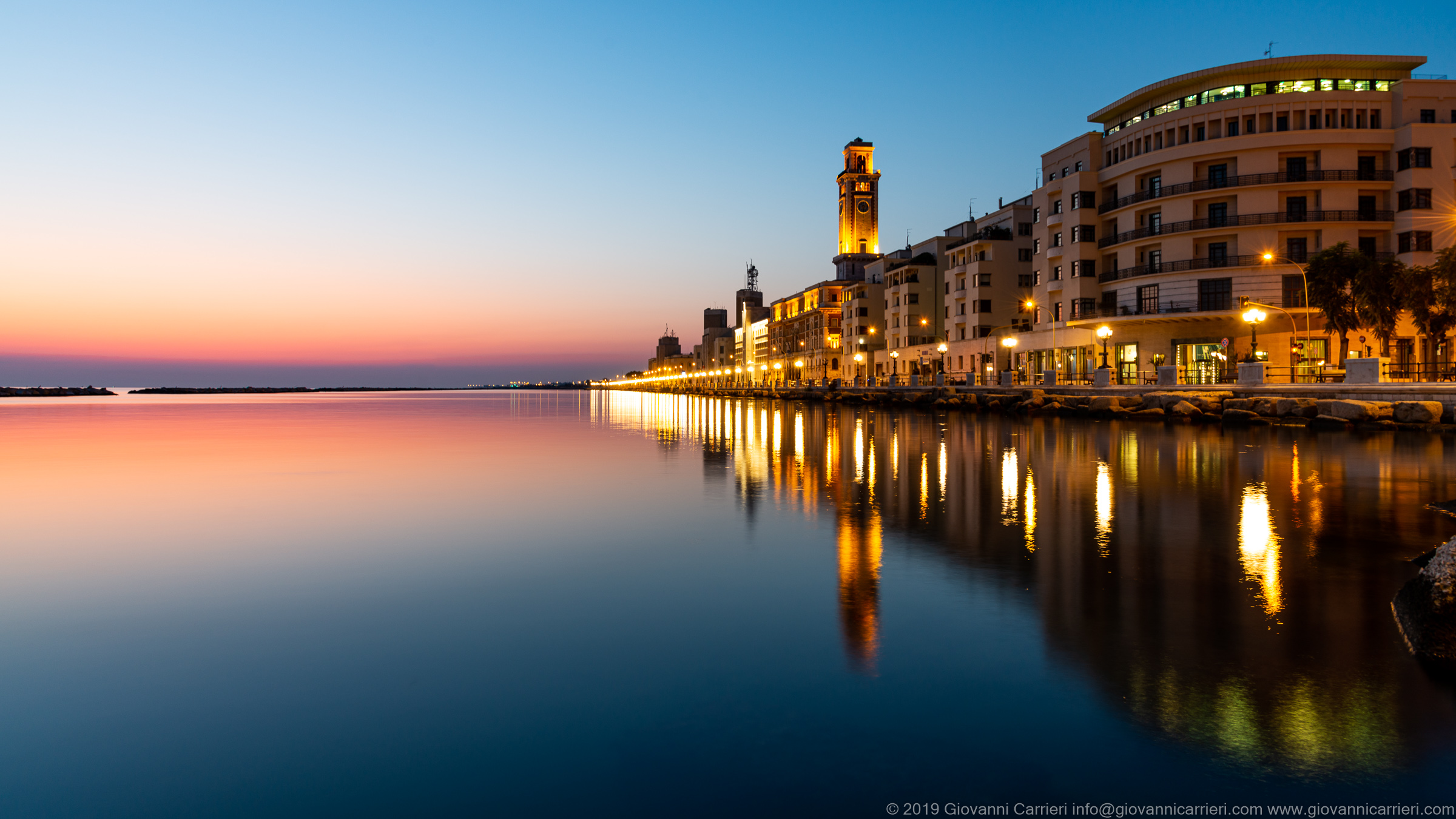 Sunrise on the seafront of Bari
