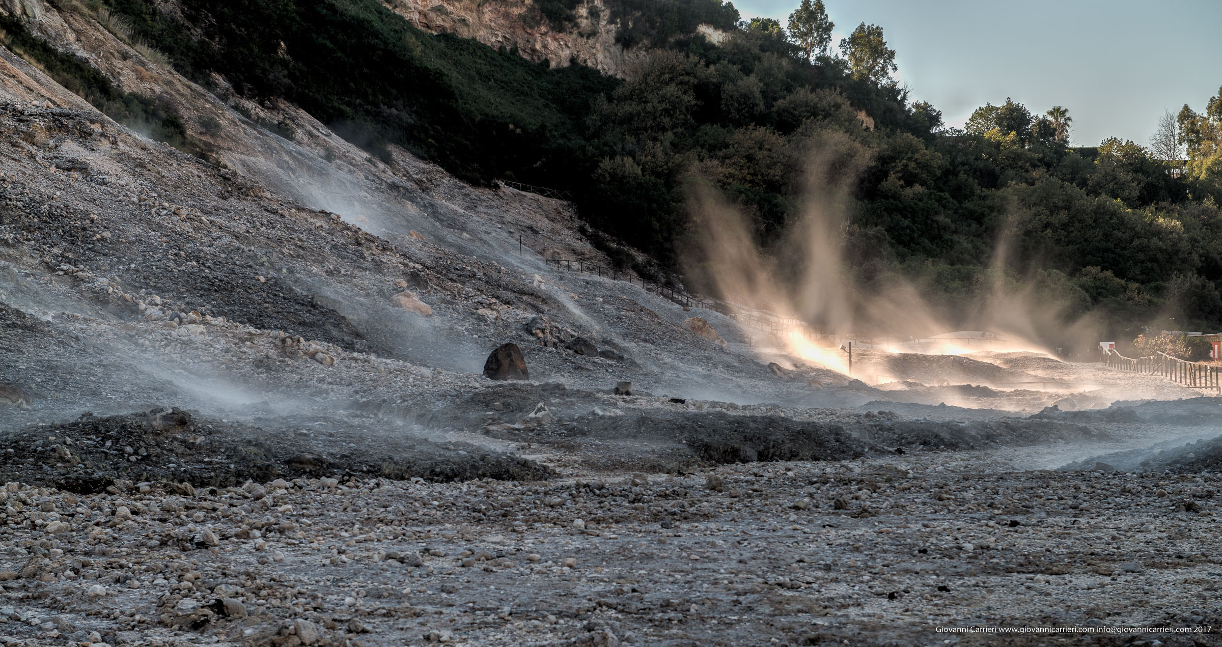 Vapors emitted from the Solfatara