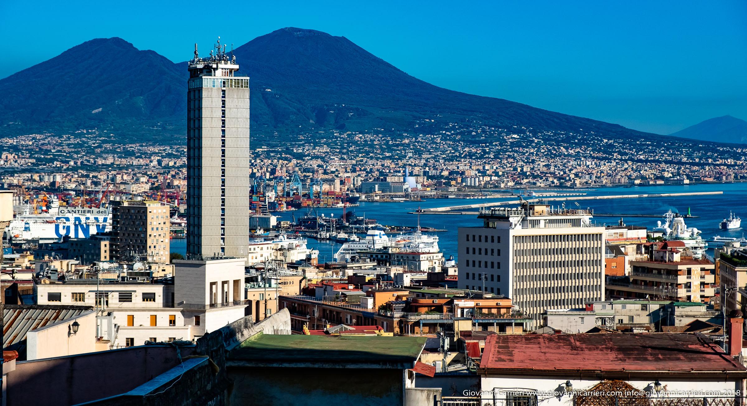 Medina Skyscraper, the port of Naples and the Vesuvius