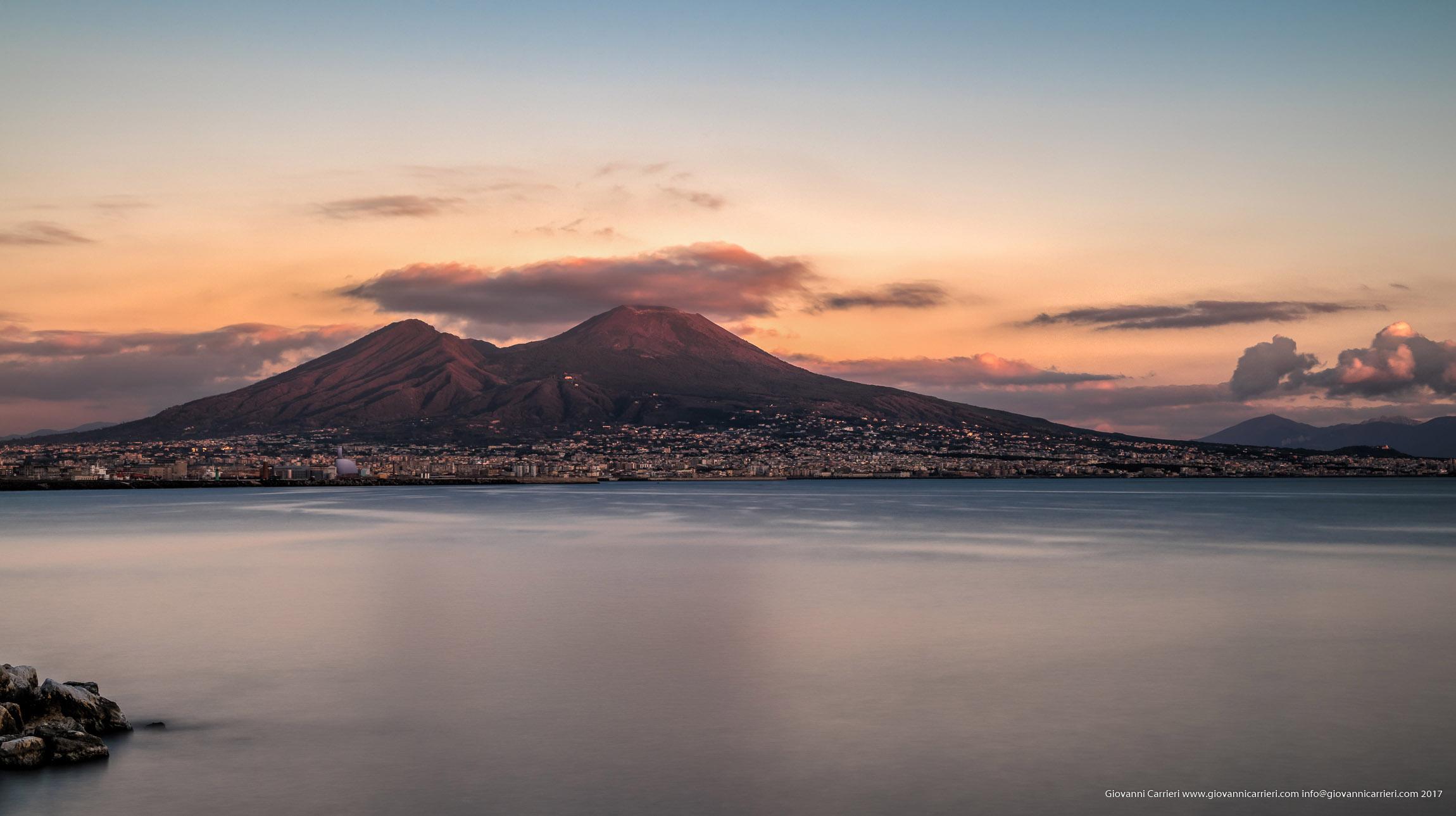 Sunset on Vesuvio, viewed from Naples