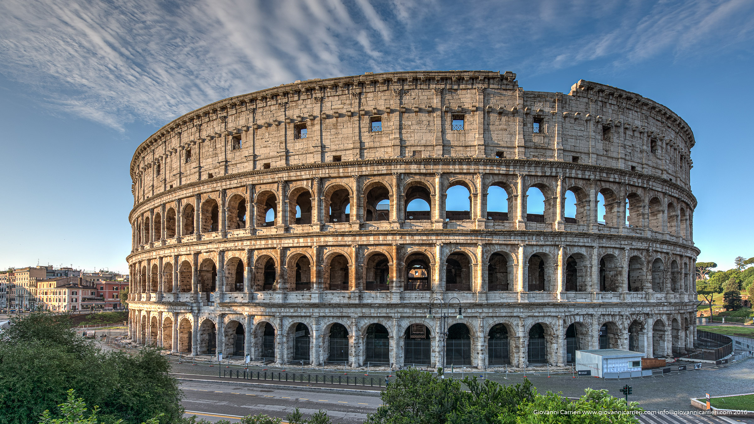 Flavian Amphitheater, called the Colosseum, in the morning