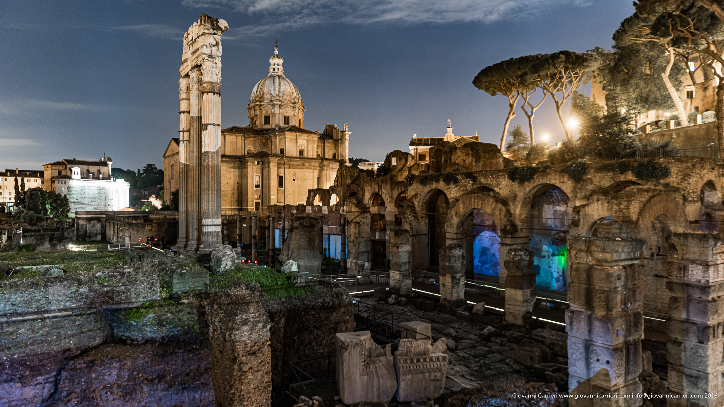 Night view of the Roman Forum