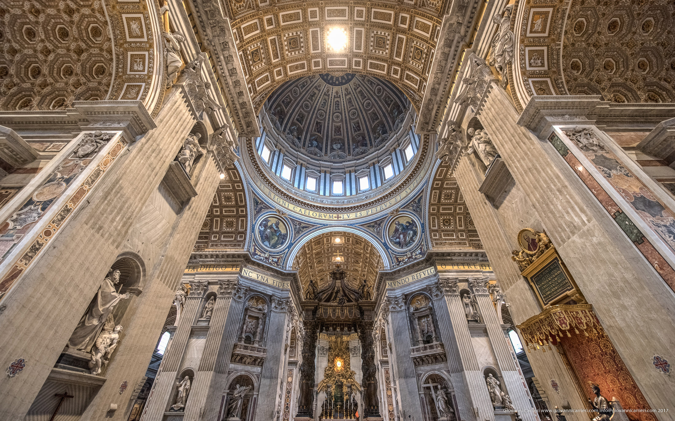 Inside St. Peter's Basilica and the dome