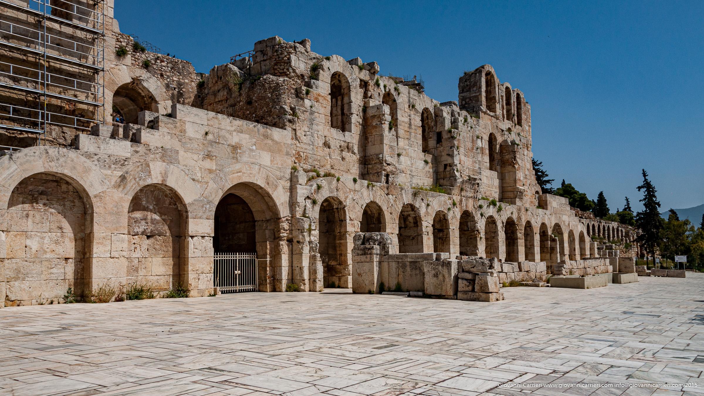 Dettaglio del teatro Odèion Erode Attico di Atene