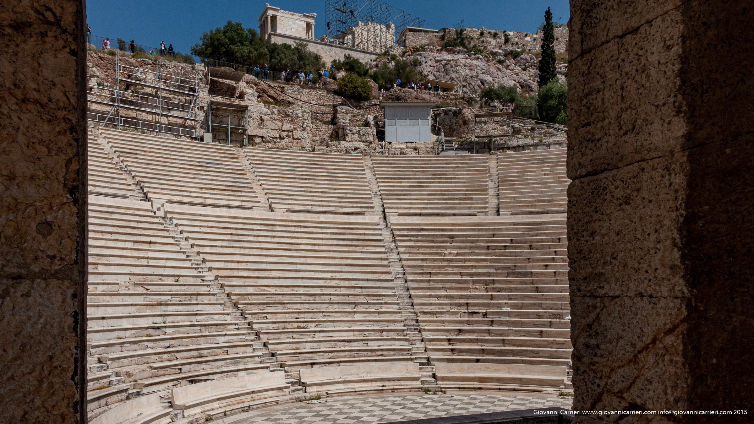 External view of the theater Odeon of Herodes Atticus Athens