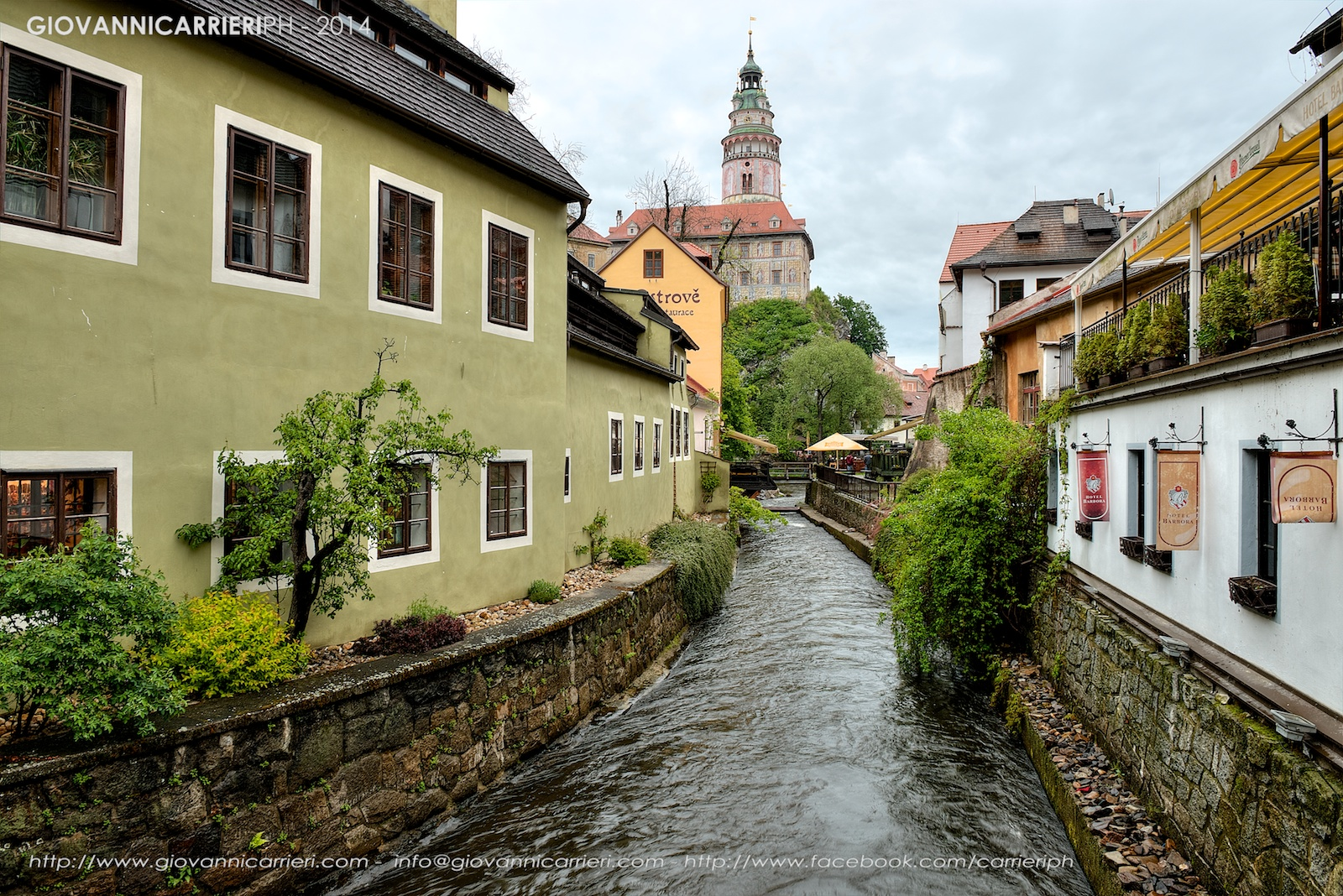 The channel of the Vltava river runs through the town of Český Krumlov
