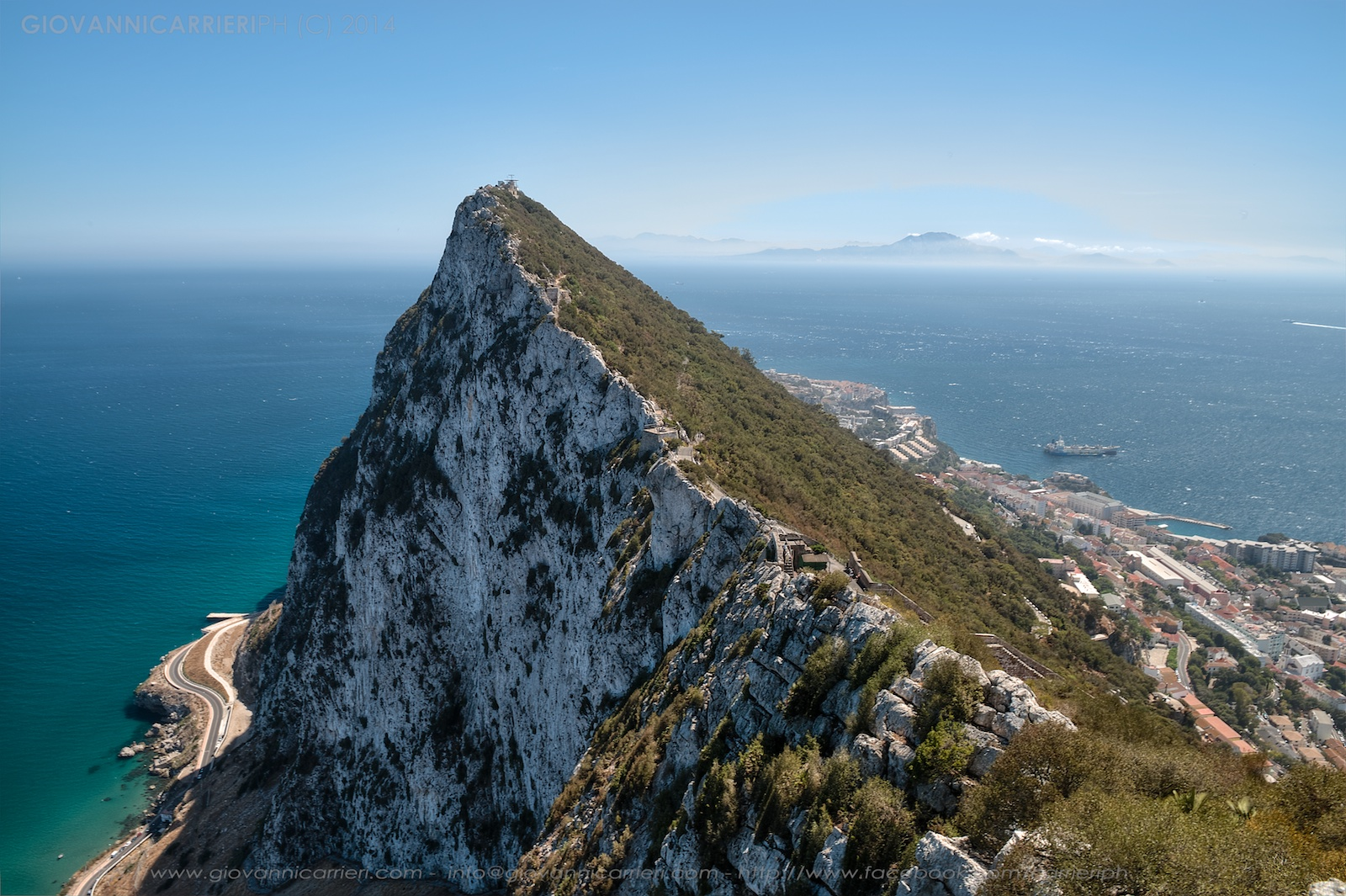 The Rock of Gibraltar and the mountains of Africa. Between the Mediterranean Sea and the Atlantic Ocean