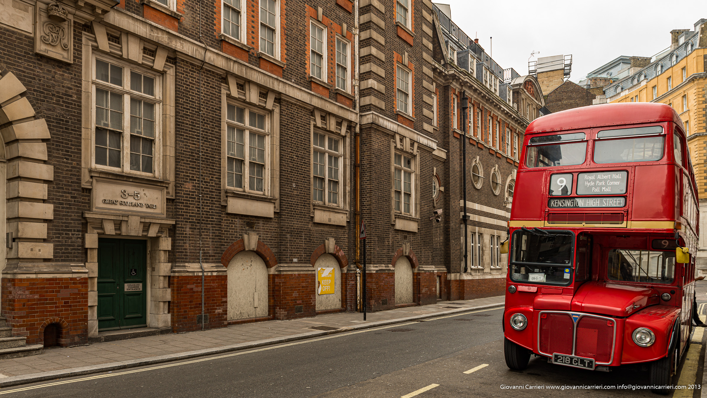 Red Bus in Scotland Yard - London