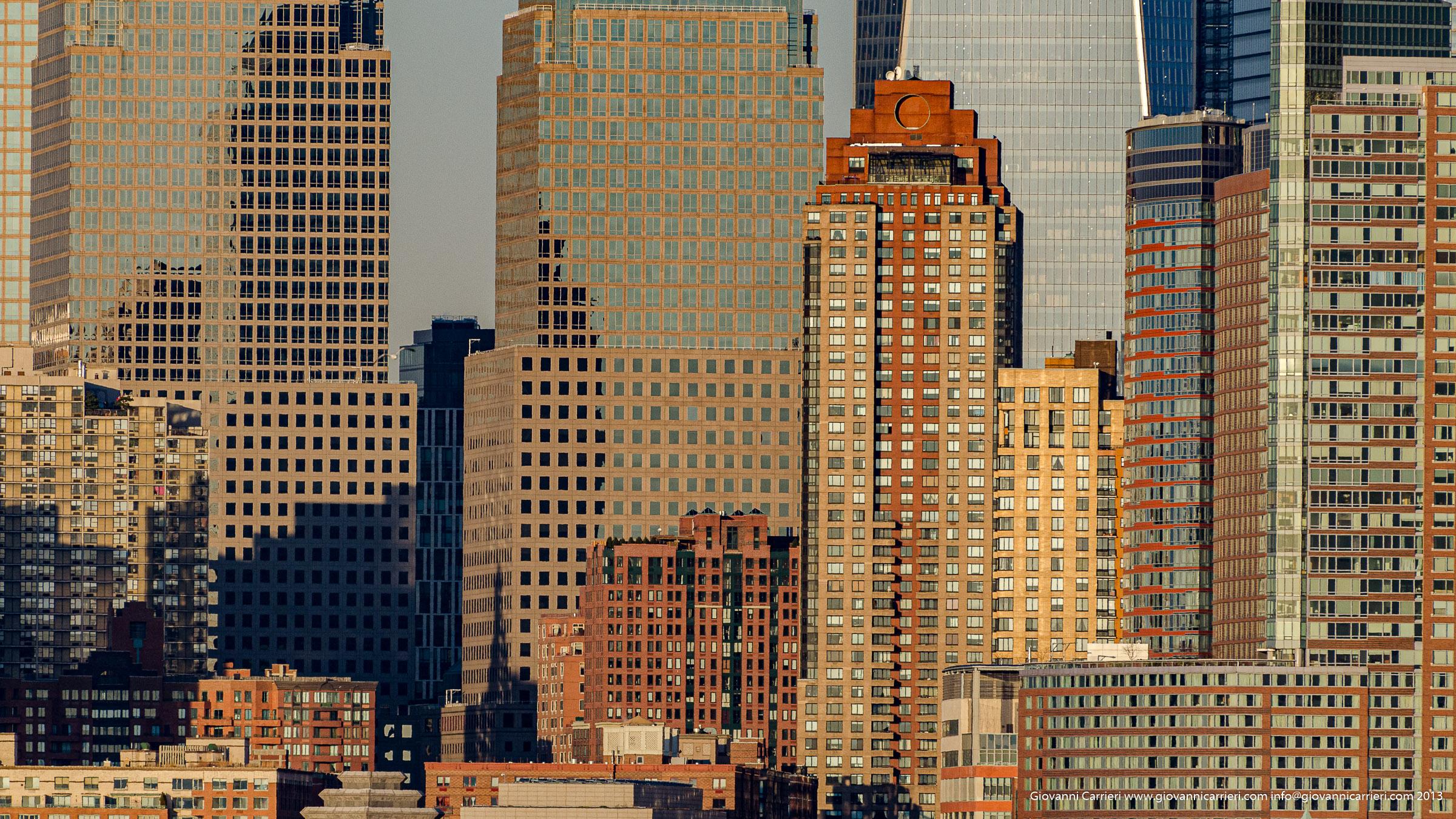 Skyline di Manhattan bassa vista da Jersey City - 2013
