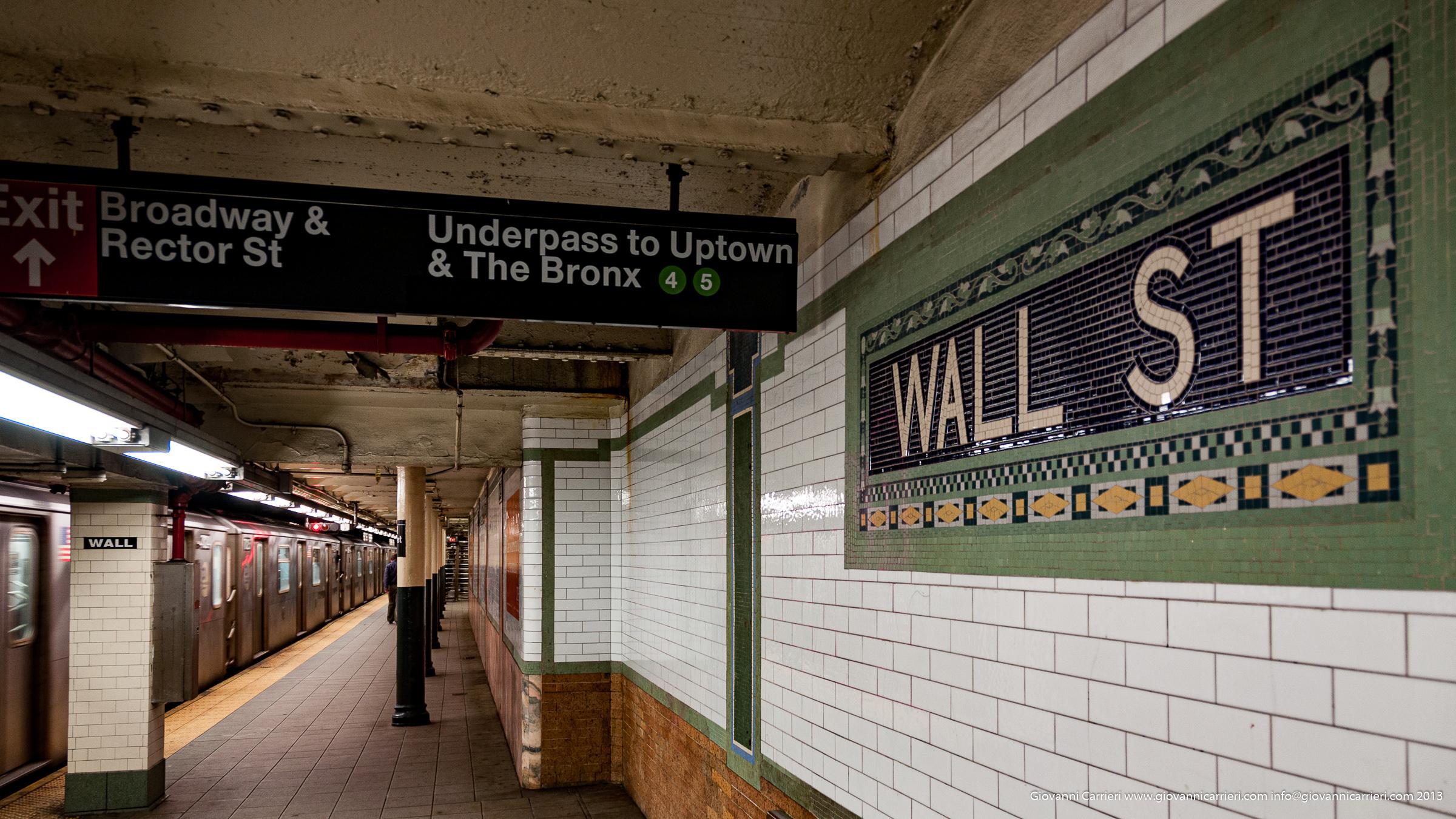 La fermata della metropolitana a Wall Street