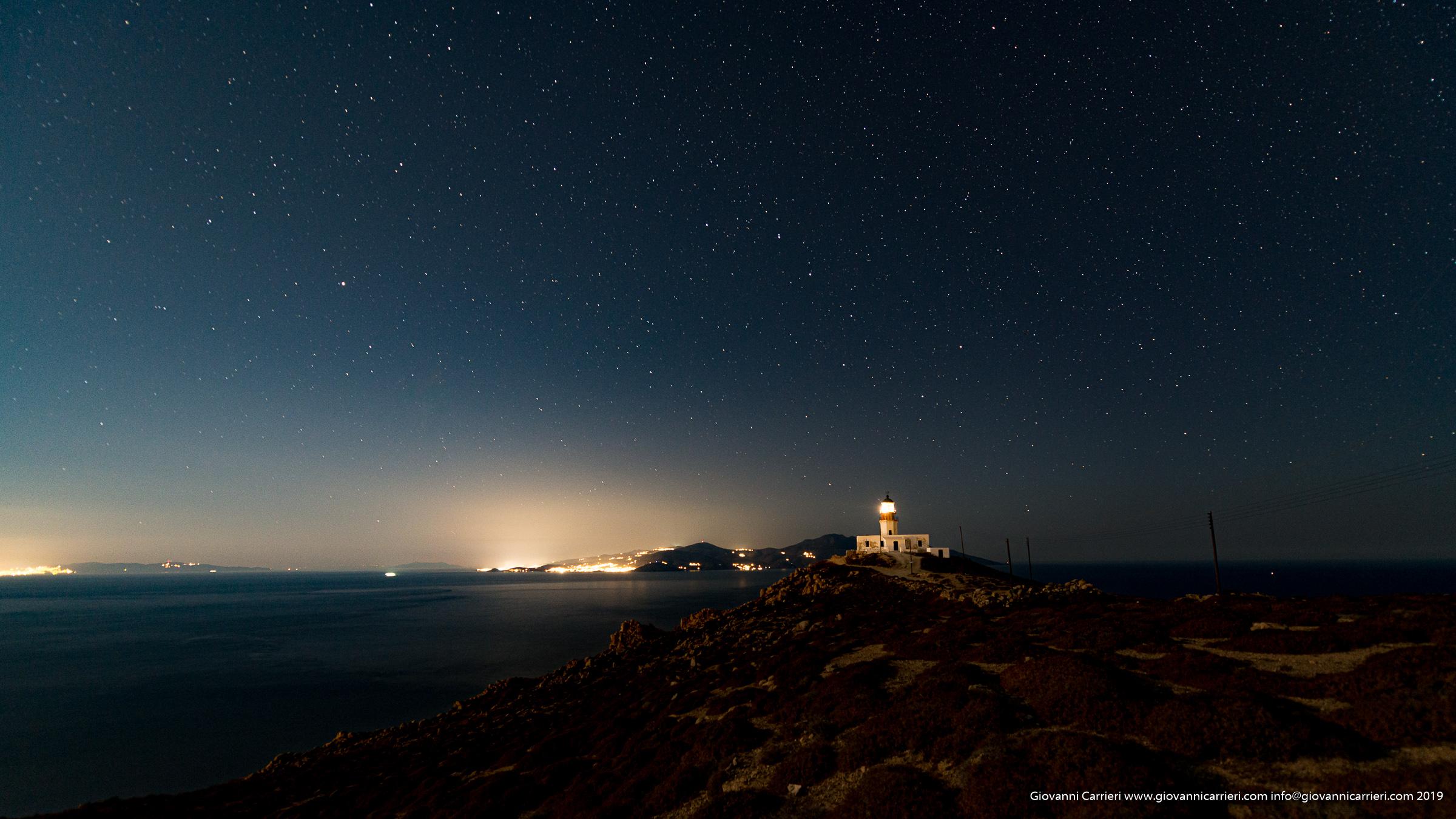 Il faro Armenisti, vista notturna - Mykonos