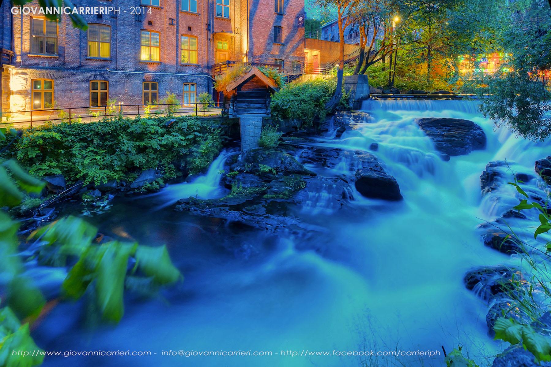 La cascata nei pressi di Torggata del fiume Akerselva. Oslo