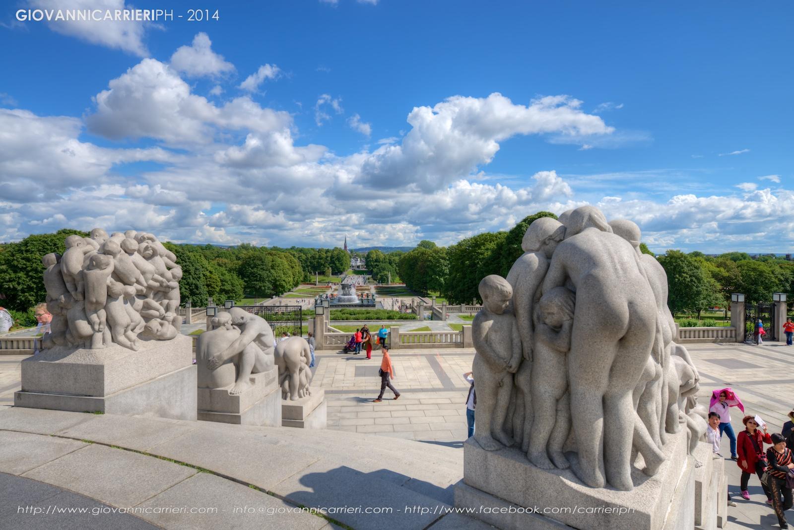 Vista del parco Frogner dal monolita, Oslo