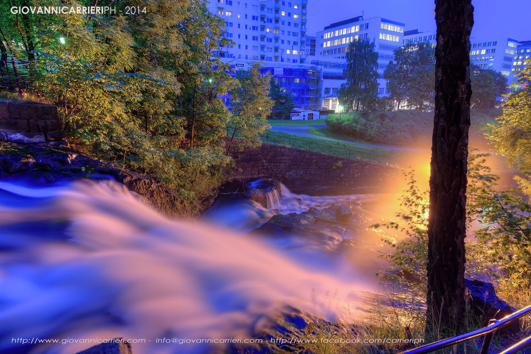 Night view of the waterfalls of the river Akerselva. Oslo