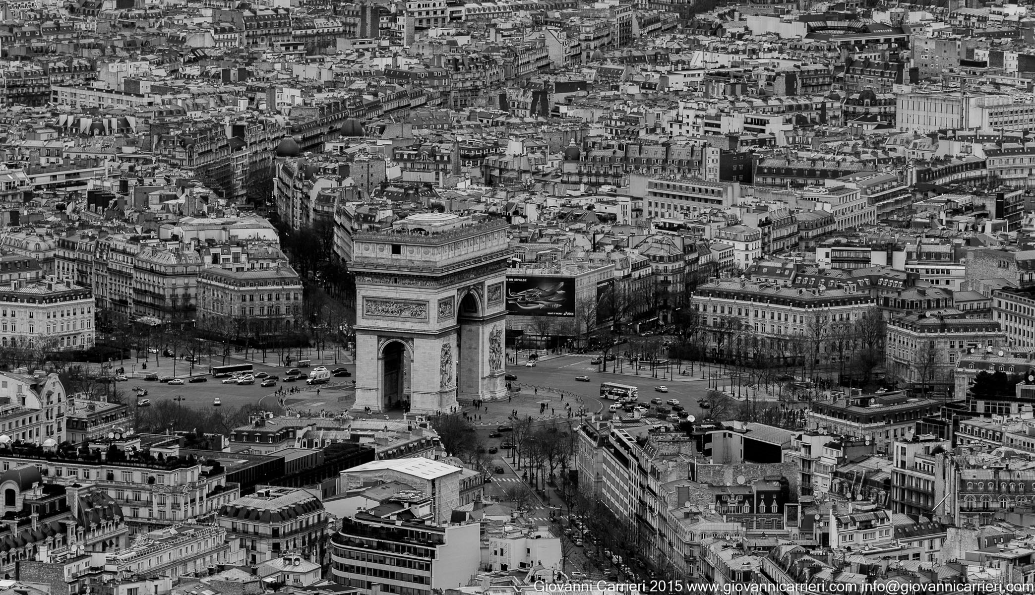 The Arc de Triomphe seen from the summit of the Eiffel Tower
