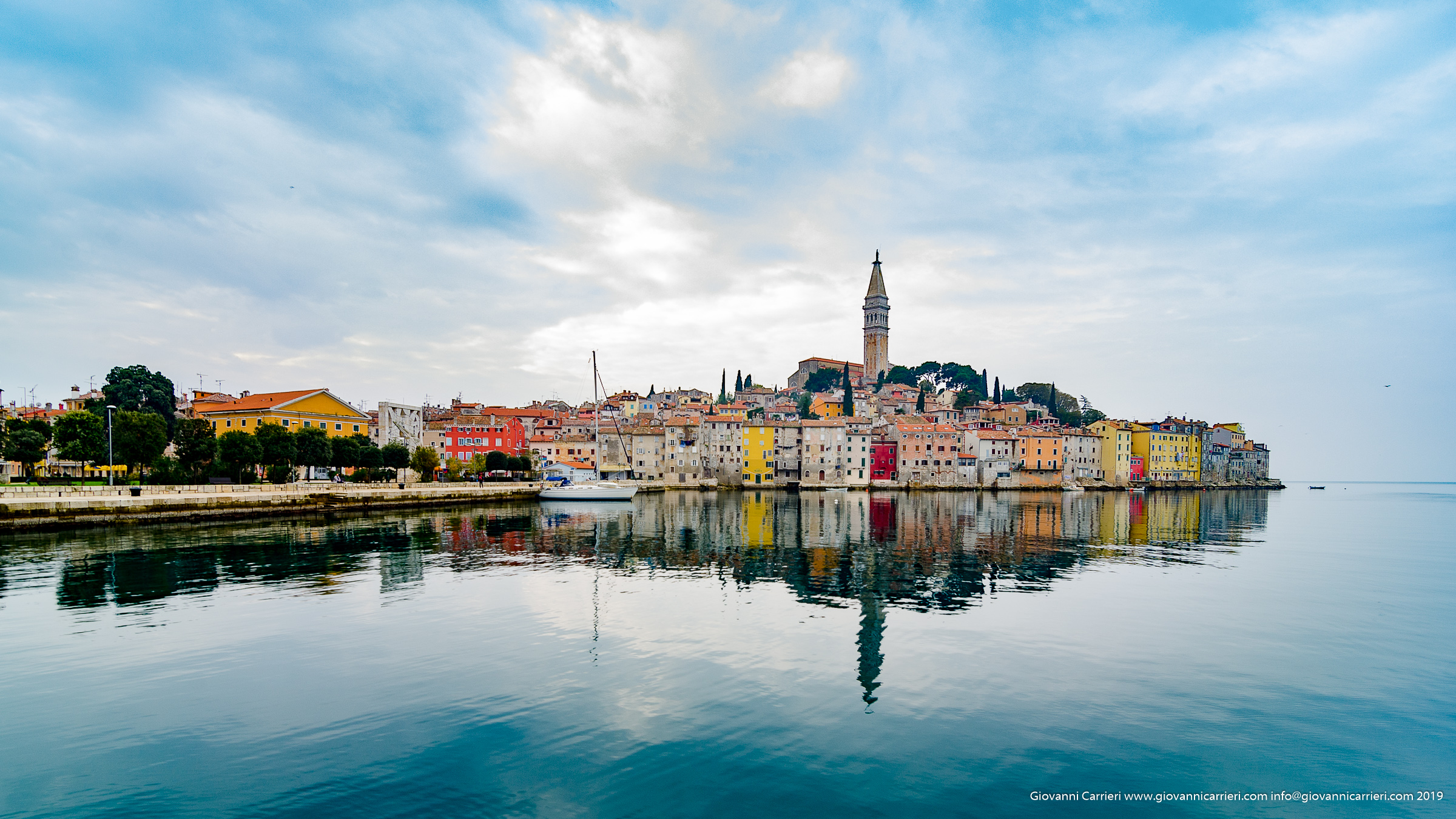 Rovinj is reflected in the calm sea