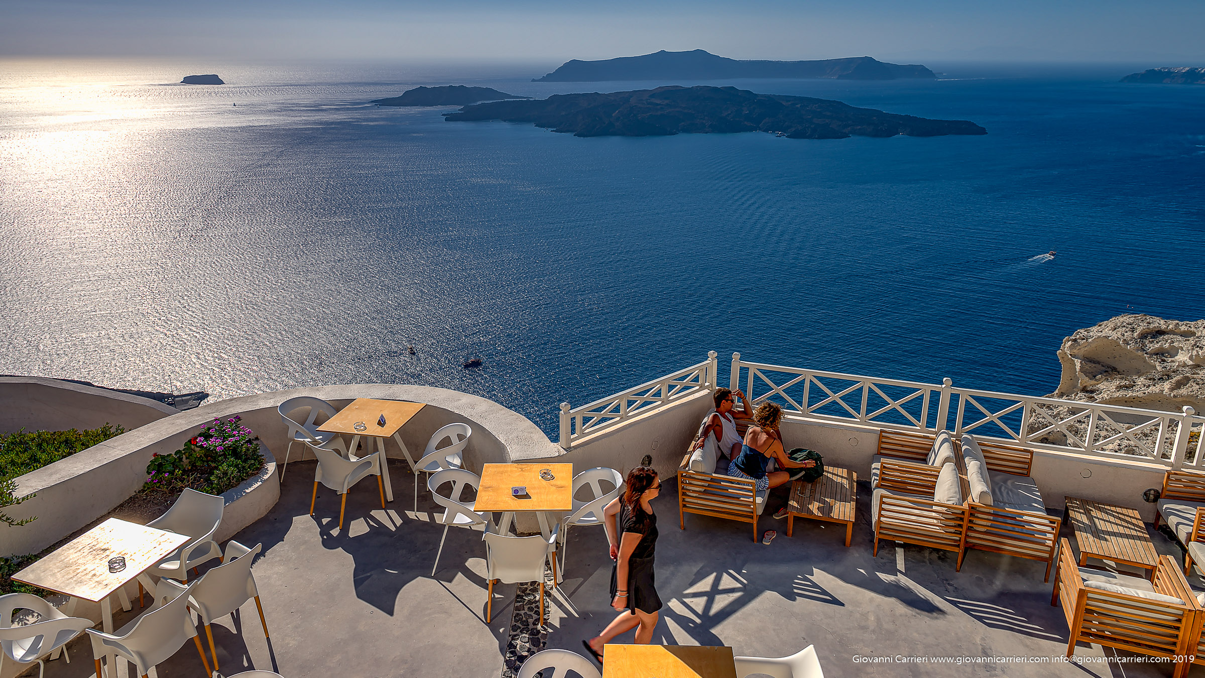 Landscape of caldera viewed from Santo Wines - Santorini