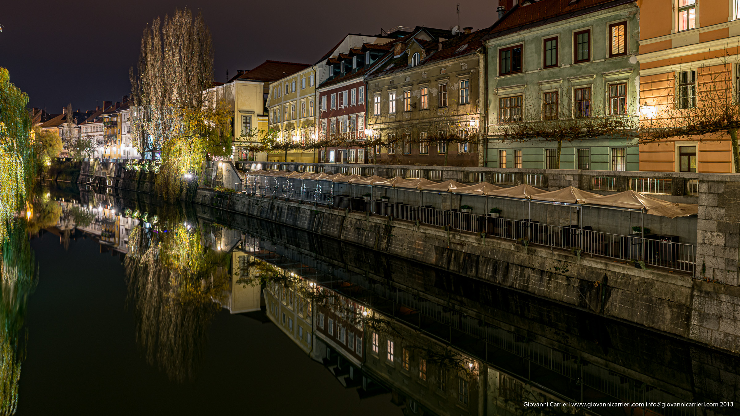 The willows weep and reflected in the river - Ljubljana