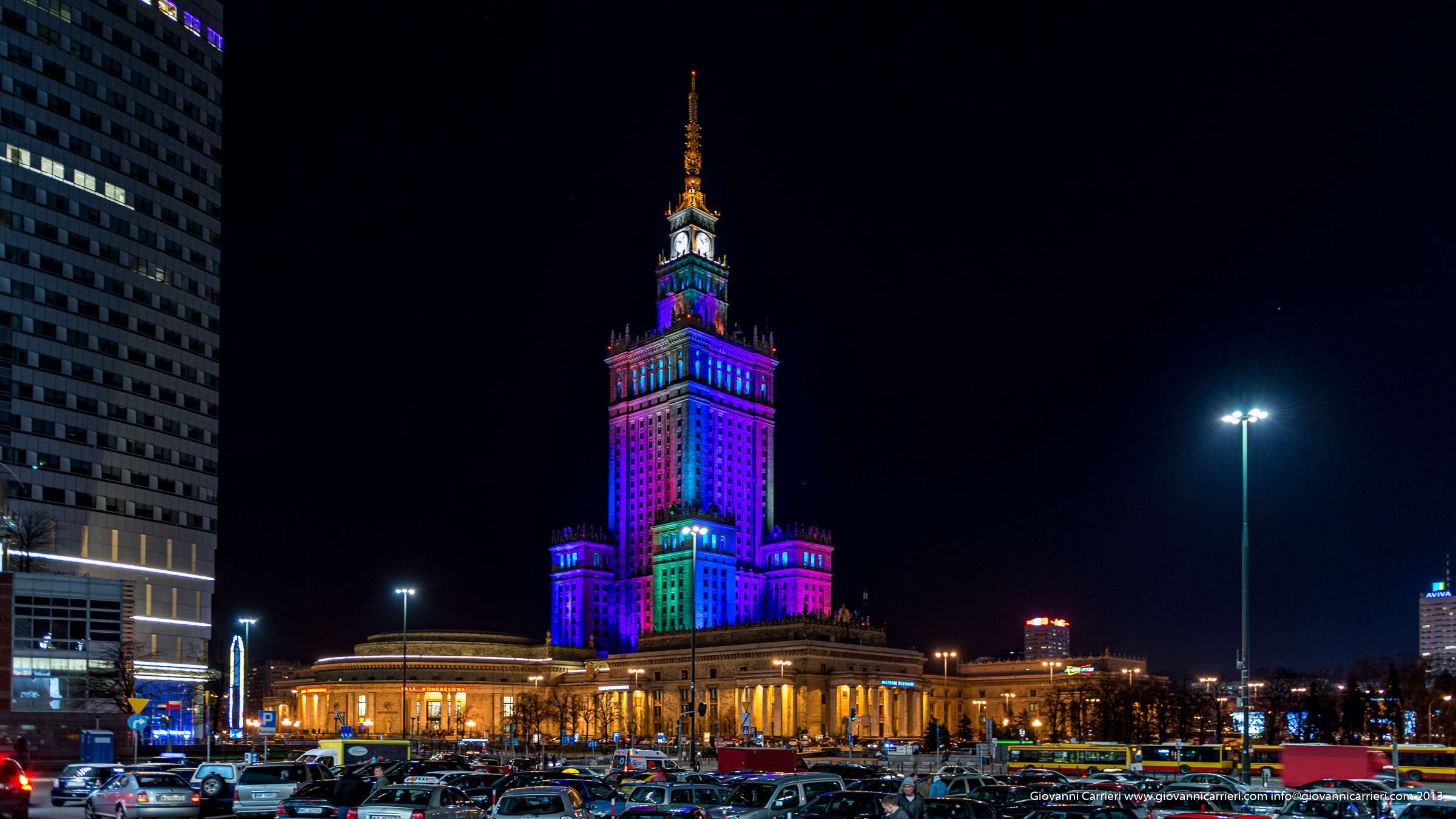 The Palace of Culture and Science, seen at night - Joseph Stalin