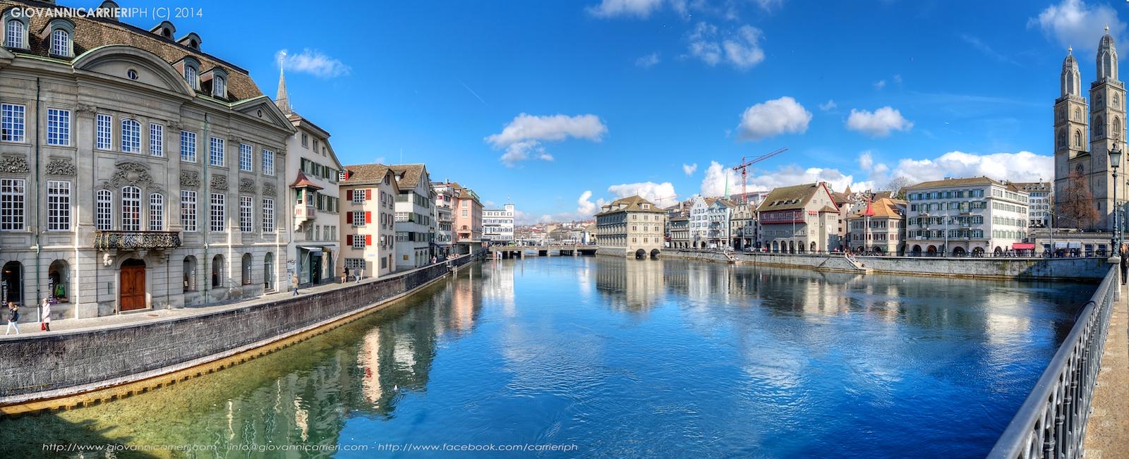 Vista panoramica di Zurigo dal fiume Limmat
